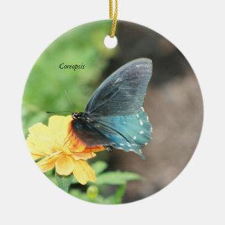 Ornamento De Cerâmica Produtos azuis do verão do Coreopsis do amarelo da