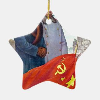 Ornamento De Cerâmica Propaganda original Mao Zedong e Josef Stalin