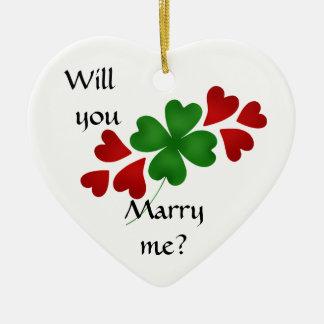 Ornamento De Cerâmica Proposta de casamento do trevo