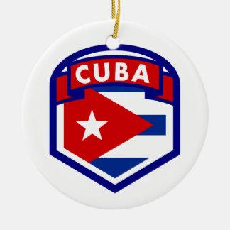 Ornamento De Cerâmica Protetor cubano da bandeira