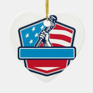 Ornamento De Cerâmica Protetor da bandeira dos EUA da chave de tubulação