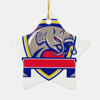 Ornamento De Cerâmica Protetor da cabeça do peixe-gato do diabo retro