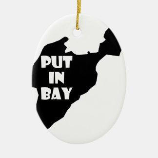 Ornamento De Cerâmica Psto no logotipo da silhueta de Ohio da ilha da