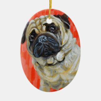 Ornamento De Cerâmica Pug 0range