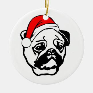 Ornamento De Cerâmica Pug com o chapéu do papai noel do Natal