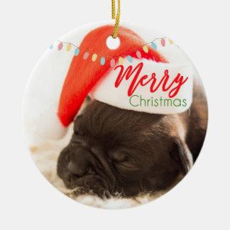 Ornamento De Cerâmica Pug do Natal no chapéu do papai noel com luzes