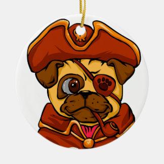 Ornamento De Cerâmica Pug do pirata