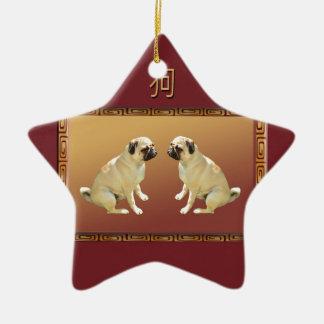Ornamento De Cerâmica Pug no ano novo chinês do design asiático do cão