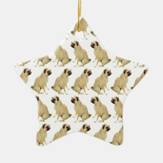 Ornamento De Cerâmica Pugs brancos
