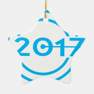 Ornamento De Cerâmica Pulso de disparo da data de 2017 azuis