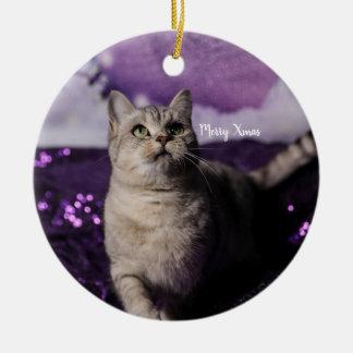 Ornamento De Cerâmica Purple XMAS Cats