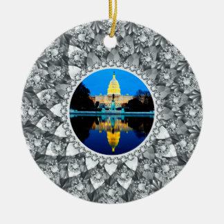 Ornamento De Cerâmica Quadro branco da foto do círculo dos diamantes