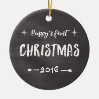 Ornamento De Cerâmica Quadro do Natal do filhote de cachorro ø