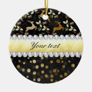 Ornamento De Cerâmica Quadro dos diamantes dos confetes dos cervos do