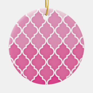 Ornamento De Cerâmica Quatrefoil cor-de-rosa