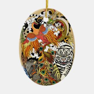 Ornamento De Cerâmica quatro animais celestiais