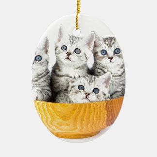 Ornamento De Cerâmica Quatro gatos novos que sentam-se na bacia de