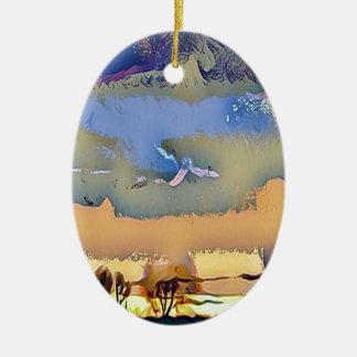 Ornamento De Cerâmica Queda clara colorida céu abstrato tonificado do