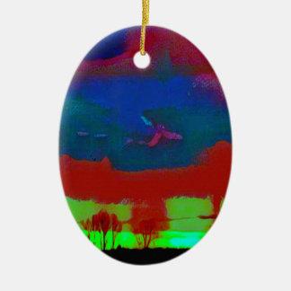 Ornamento De Cerâmica Queda colorida céu abstrato tonificado do
