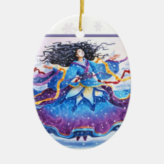 Ornamento De Cerâmica Queda de neve do solstício de inverno