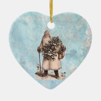 Ornamento De Cerâmica Queda de prata da neve do papai noel do Natal do