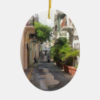 Ornamento De Cerâmica Quieto pouca rua de Puerto Rico