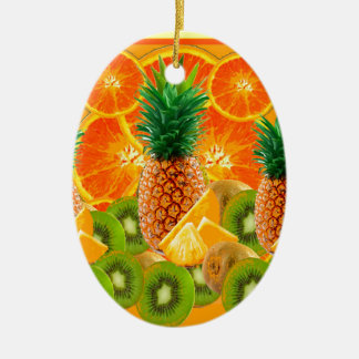 Ornamento De Cerâmica QUIVI HAVAIANO tropical das FATIAS do ABACAXI & da