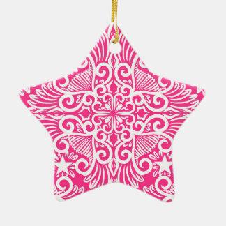 Ornamento De Cerâmica Raiz do sonho do rosa quente