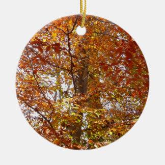 Ornamento De Cerâmica Ramos da natureza alaranjada do outono das folhas
