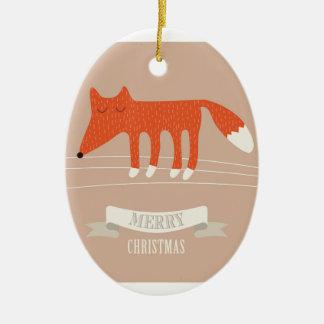 Ornamento De Cerâmica raposa do Natal