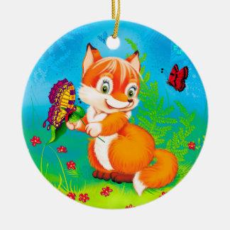 Ornamento De Cerâmica raposa e borboleta