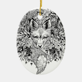 Ornamento De Cerâmica Raposa preto e branco na floresta