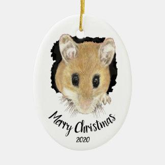 Ornamento De Cerâmica Rato bonito datado feito sob encomenda que