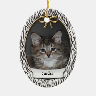 Ornamento De Cerâmica Rawr! Listras animais pretas do primeiro Natal do