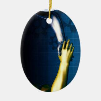 Ornamento De Cerâmica Rede da integração do negócio com as mãos que