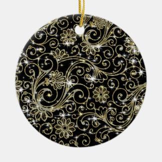 Ornamento De Cerâmica Redemoinhos do preto & do ouro