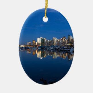 Ornamento De Cerâmica Reflexão azul da hora de Vancôver BC