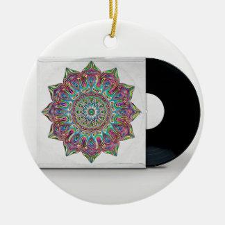 Ornamento De Cerâmica Registro de vinil retro e luva psicadélico do