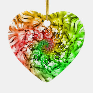 Ornamento De Cerâmica Rei do círculo Rastafarian da mandala do orgulho