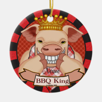 Ornamento De Cerâmica Rei Porco do CHURRASCO