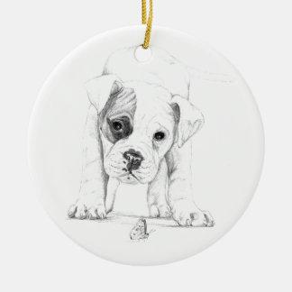 Ornamento De Cerâmica Remende uma arte do desenho do filhote de cachorro