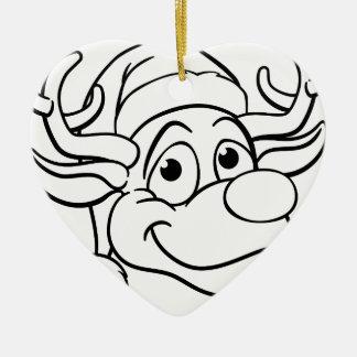 Ornamento De Cerâmica Rena do Natal do chapéu do papai noel