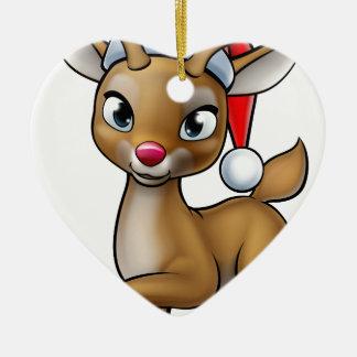Ornamento De Cerâmica Rena do Natal dos desenhos animados que veste o