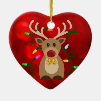 Ornamento De Cerâmica Rena do Natal nas luzes