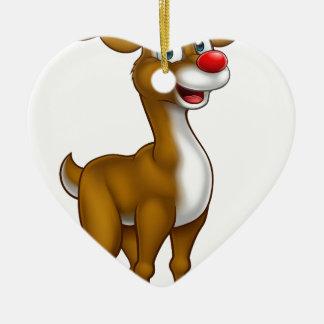 Ornamento De Cerâmica Rena do Natal no chapéu do papai noel
