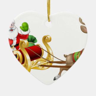 Ornamento De Cerâmica Rena do trenó do trenó de Papai Noel do Natal