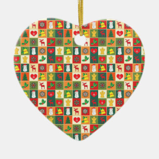Ornamento De Cerâmica Renas dos retalhos do Natal, flocos de neve,