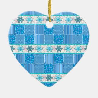Ornamento De Cerâmica Retalhos azuis