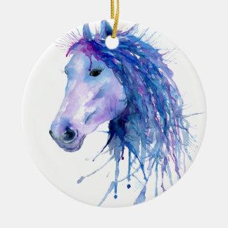 Ornamento De Cerâmica Retrato abstrato do cavalo da aguarela