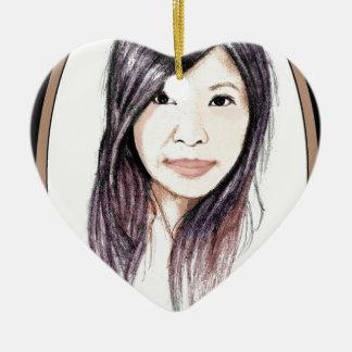Ornamento De Cerâmica Retrato bonito de uma mulher asiática